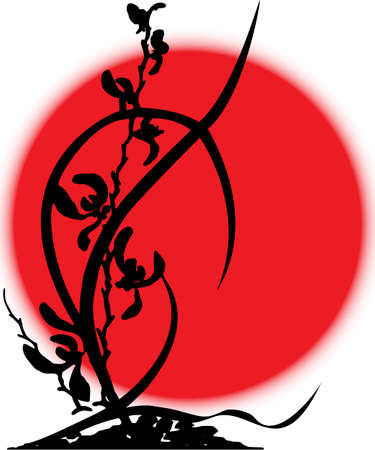 bandera japon: Las flores de la silueta de orquídeas, ejecutado en negro sobre un fondo de la bandera japonesa