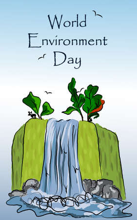 freehand drawing: Illustration freehand drawing of waterfall nature landscape for the world day of environmental protection