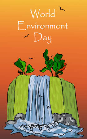freehand drawing: Illustration freehand drawing of waterfall nature landscape for the world day of environmental protection sunset