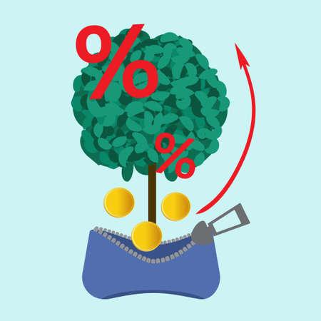 money falling: Money tree, investment, banking. money falling into wallet Illustration