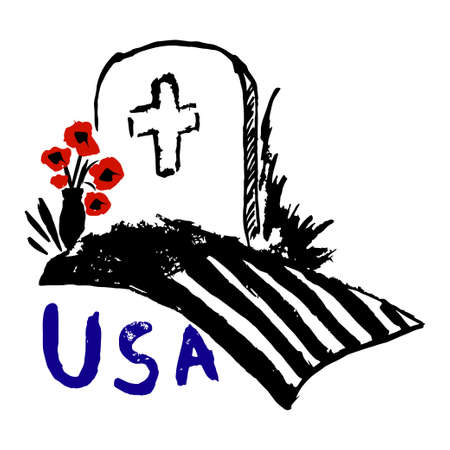 freehand drawing: Memorial day USA freehand drawing, the Flag lying on the tombstone Illustration