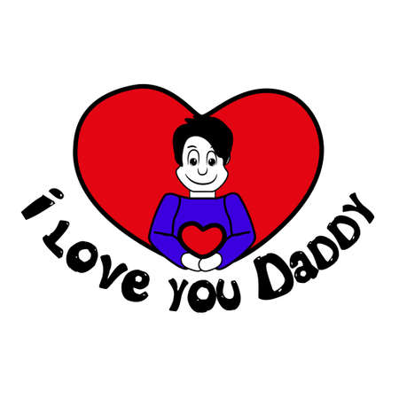 fatherhood: Illustration of fathers day in the United States, the image shows a favorite dad on red heart with text