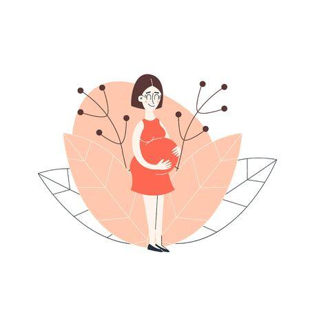 Pregnant woman. Happy pregnancy. Flat cartoon vector illustration Çizim