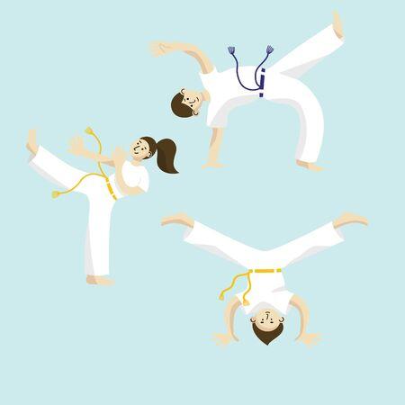 Capoeira set. Capoeira dancers.Vector illustration.