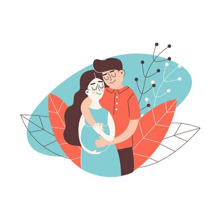 Young happy couple. Pregnant wife and her husband together. Vector illustration of a flat desing. Çizim