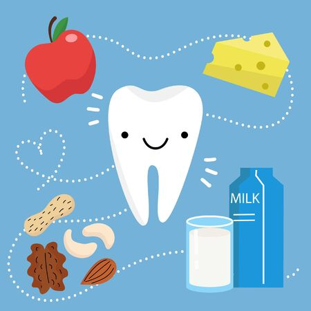 Happy Healthy Tooth. Vector illustration in flat design. Teeth and food.