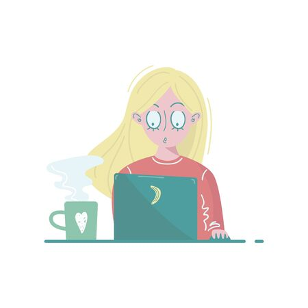 Girl has blond hair with laptop and coffee. Vector illustration. Illusztráció
