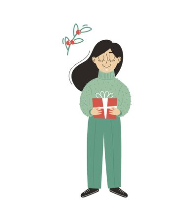 A young woman with a present. A girl holding a gift in her hands. Vector illustration. Illusztráció