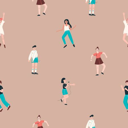 Seamless pattern with dancing people. Vector illustration Illusztráció