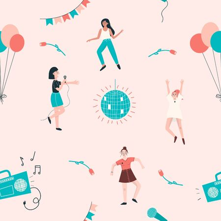 Seamless pattern with dancing women, balloons, disco ball, tape recorder, flowers. Vector illustration
