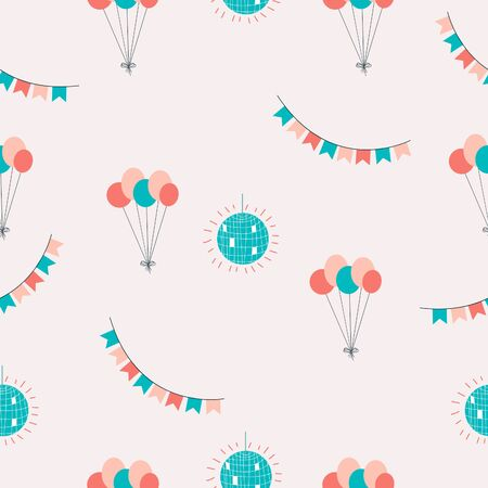 Balloons, disco ball, flags seamless pattern. Perfect for wrapping paper. Vector illustration Illusztráció