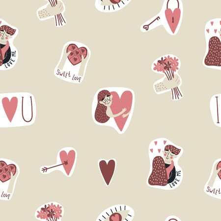 Seamless pattern with cute elements, hearts, candy, girl with heart, flowers, eye etc. Valentine`s day. Vector illustration. Illusztráció