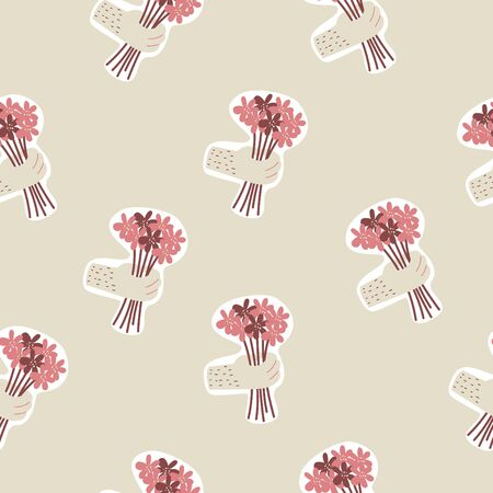 Seasmless pattern with bouquet of flowers in hand. Vector illustration.