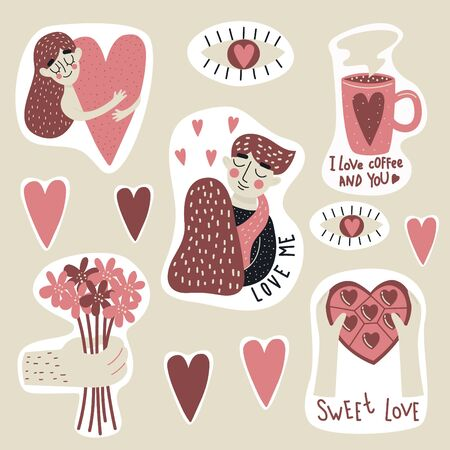 Valentines Day set with love elements, hearts, sweets, coffee, flowers, eyes and etc. Template for sticker kit, greeting, congratulations, invitations, planners. Vector illustration