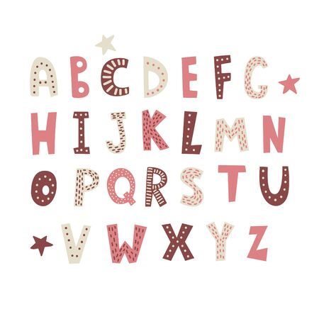 Vector cartoon alphabet white background. Cute abc design for book cover, poster, card, print on baby's clothes etc.