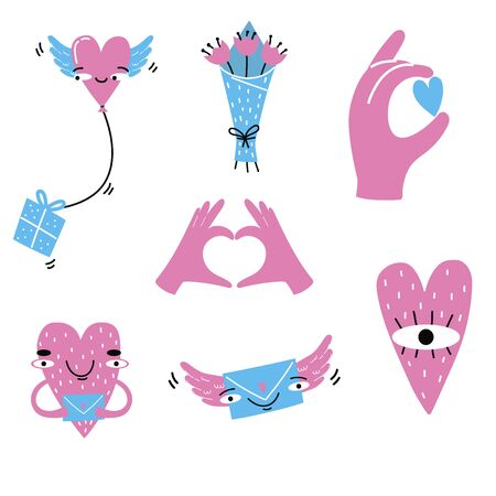 Collection of love elements for greeting card design. Valentines Day. Stickers Heart, envelope, heart with hands, heart with eye, ballon with present, flowers, bouquet. Vector illustration.