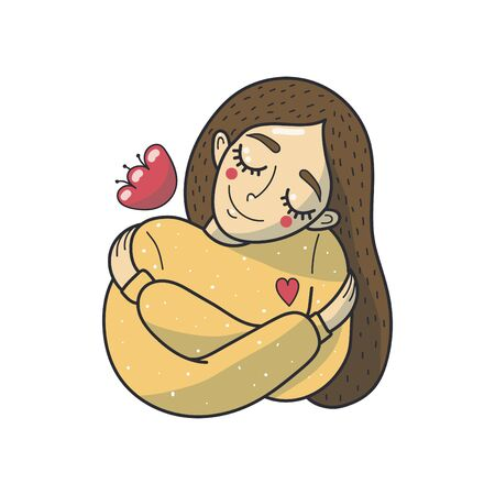 Young woman hugs herself. Love yourself. Cute vector illustration.