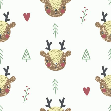 Cute seamless pattern with baby deer. Creative childish print. Great for fabric, textile. Vector illustration.