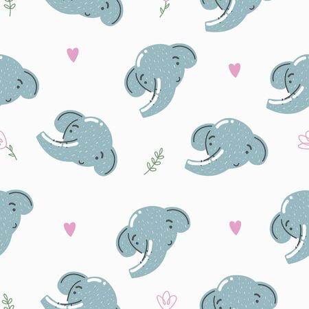 Cute seamless pattern with baby elephant. Creative childish print. Great for fabric, textile. Vector illustration.