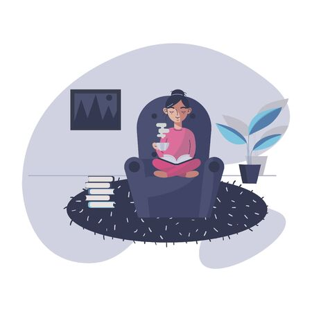 Young woman read book and drink coffee. The girl is resting at home and drinking coffee. Character vector illustration.