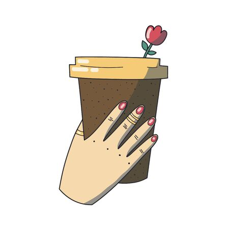 A woman hand holds coffee cup. Take away cup. Vector illustration.
