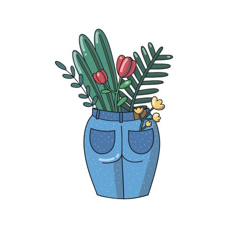 Flowers and plants in blue jeans. flowers in a pocket. Back view. Hand draw vector illustration.