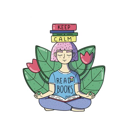 YOUNG WOMAN MEDITATES WITH BOOKS ON HER HEAD. KEEP CALM READ BOOKS. A GIRL HAS PINK HAIR. VECTOR ILLUSTRATION.