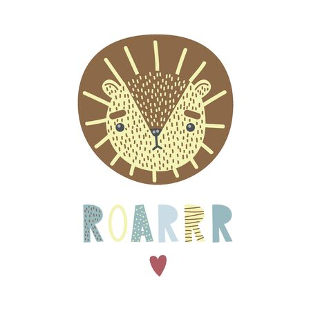 A cute lion. Vector illustration, poster, print, card with a cute lion, heart and lettering ROAR. Hand drawn.