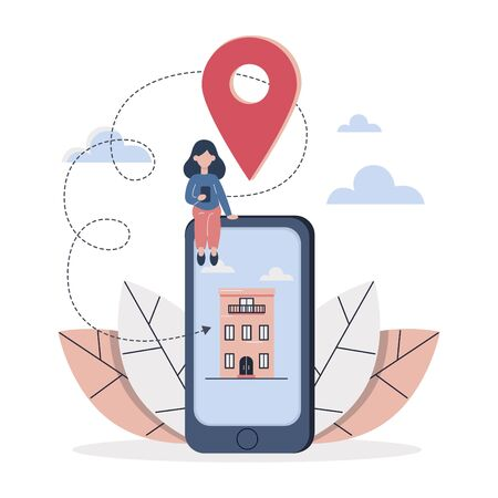 Mobile application on phone screen. A woman looks in the phone the desired well adress. Online map. Location. Flat vector illustration.