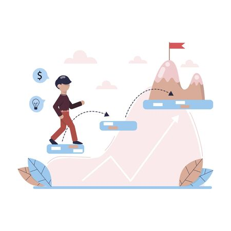 Young man run to his goal. Move up motivation. The path to the target`s achievement. Business concept. Vector illustration.