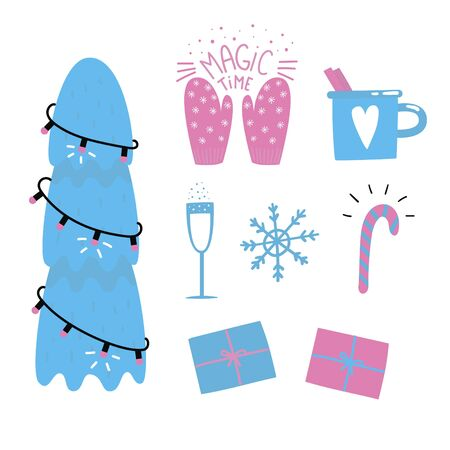Collection of xmas elements for greeting card desing. Stickers Christmas tree, champagne, snowflake, cinnamon tea, candy cane, mittens, presents. Vector illustration.