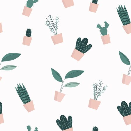 Seamless pattern with cute house plants in pots. Vector illustration.