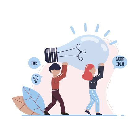 A man and a woman are holding a huge light bulb. Metaphor of the seach for ideas. Office workers found a good idea. Brainstorming, collabration. Vector illustration.