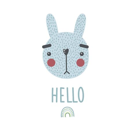 A cute bunny. Vector illustration, poster, print, card wih a cute rabbit, rainbow and lettering HELLO. Hand drawn Illusztráció