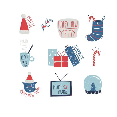 Christmas set with cartoon New Year characters. Collection of xmas elements for greeting card desing. Stickers Vector illustration. Illusztráció