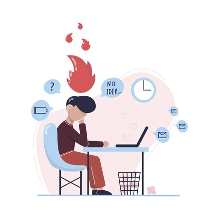 Emotional burnout man sitting at his working place with computer in an office. Tired businessman with low battery. No idea. Hard work. Vector illustration.