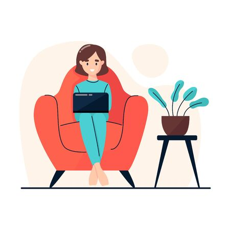 A woman sits in a chair and works on a laptop. Work at home. Home office. Freelance or studying concept. Vector illustration in flat style.
