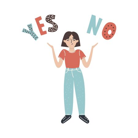 Yes or no. Decision making. Cartoon vector illustration of woman character has Yes and No decision on left and right side. White background. Vector illustration.