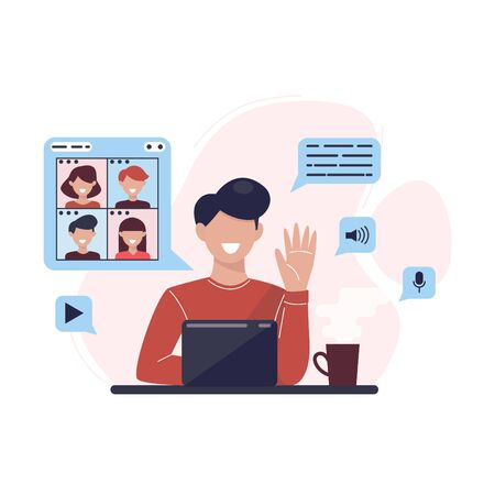 Man at desktop chatting with frienads online. People chat online. Online negotiations. Video conference call to friends, colleagues, customers. Social media technology concept illustration. Vector.