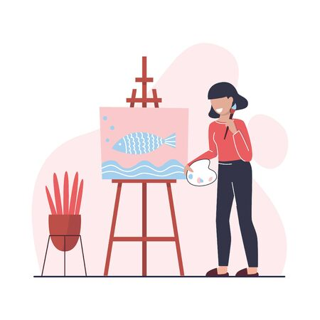 Young woman is drawing a picture at easel with paintbrush. Hobby. Creative professional artist. Work at home as freelancer or hobby. Flat vector illustration.