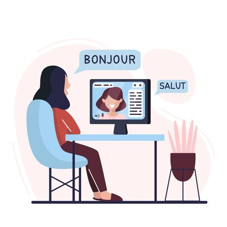 Woman is learning French at home. Digital course. Online education. Online language courses. Language practice. Lettering SALUT, BONJOUR. Vector illustration. Flat. Illusztráció