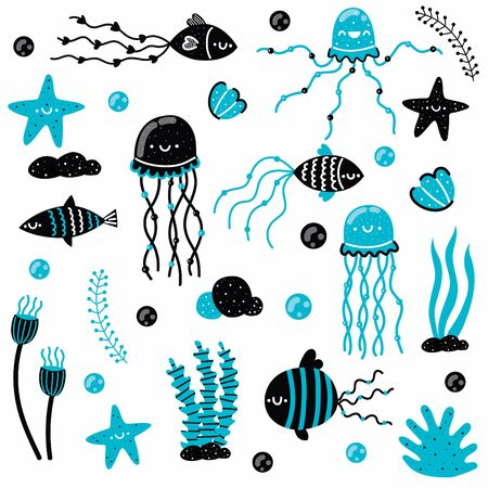 Cute set of marine elements for chidren fashion, stationery, scrapbooking, home decor, textile, cards. Hand draw elements. Vector illustration.