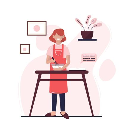 Young woman is cooking in the kitchen. Woman prepares food at home. Flat vector illustration.