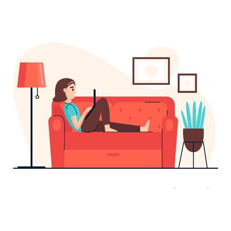 A young woman works on the laptop and lies on the sofa at home. Work at home. Home office. Freelance or studying concept. Vector illustration in flat style.