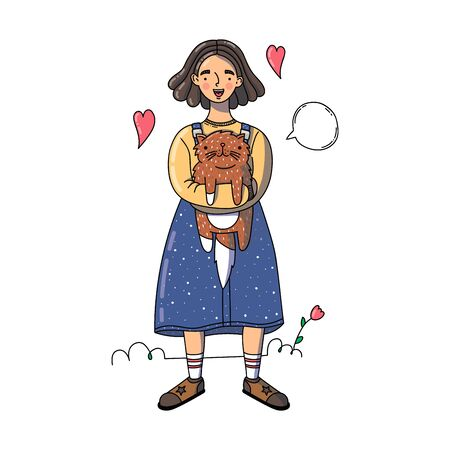 A cute girl is holding a brown cat on her hands. Cartoon style. Use for print, surface design, greeting cards, notebooks, notepads. Vector illustration.