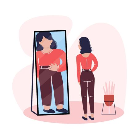 A slim young woman is looking in the mirror and seeing herself as overweight. Eating disorder, anorexia or bulimia concept. Vector illustration.