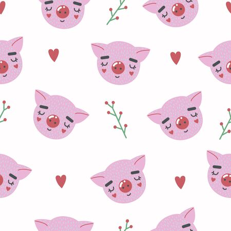Cute seamless pattern with baby pig.