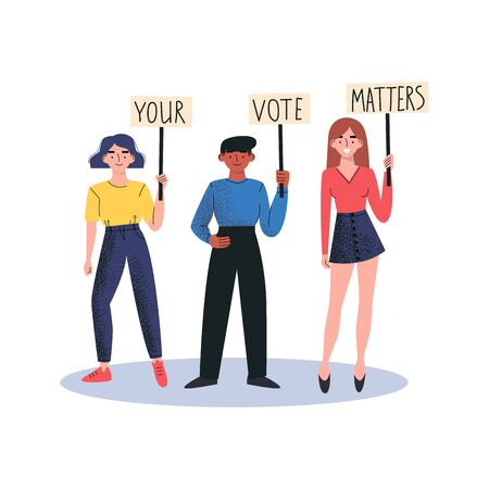 People holding banners YOUR VOTE MATTERS. Street demonstration vector concept. Vector illustration.