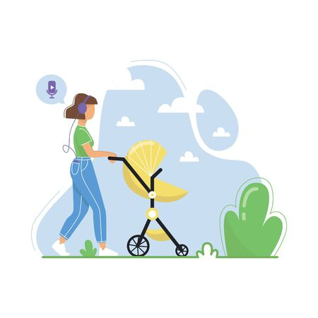 Young woman walking with baby stroller and listening to podcasts, online radio streaming, music, audiobooks. Flat vector illustration. Illusztráció