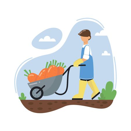 A farmer pushing a wheelbarrow full of carrots. A man wearing rubber boots. Agricultural worker. Autumn harvest. vector illustration.